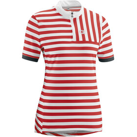 Gonso Madrisa Fietsshirt Korte Mouwen Halve Rits Dames, high risk red